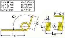 5x MIL spec Drehfeder, Länge 27 mm, Außen-Ø 8 mm, Drahtstärke 1.45 mm, NOS