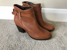 New Ladies Linea Tan Leather Strap Detail Ankle Boots Size 7 40 RRP £100