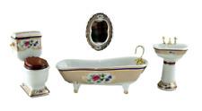 Dolls House Victorian Royal Bathroom Suite Miniature Porcelain 1:12 Furniture