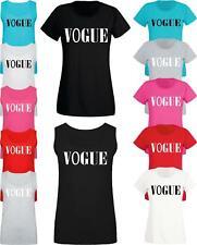 Women Ladies VOGUE Slogan Print T shirt & Vest Trendy Summer Tank Top