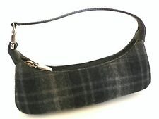 SALVATORE FERRAGAMO Black/Grey Wool Pochette Handbag Leather Strap Palladium HDW
