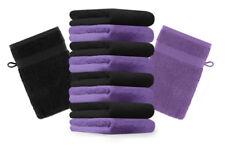 """10er Pack Waschhandschuhe """"Premium"""" Farbe: Lila & Schwarz, Größe: 17x21 cm"""