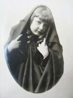 Vintage Photo Cute Little Girl Angelic With Curls Cape Hood 1920-30's