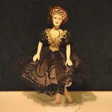 miniature porcelain doll girl 1:12 dollhouse lady OOAK