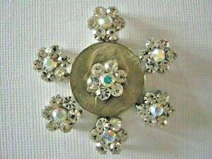2 Hole Slider Beads Daisy Clear & AB Made with Swarovski Elements 7 Pieces