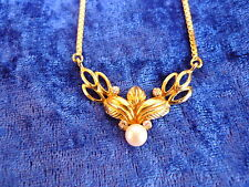 CLASSY NECKLACE__925 Silver Gold Plated __ with Pearl and Small Stones__Necklace