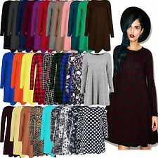 Womens Ladies Long Sleeve Midi A-line Skater Swing Dress Jersey Flared Tea Plain
