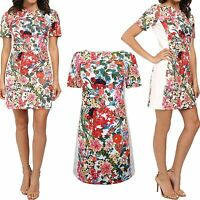 Ex Adrianna Papell Floral Print Dress Summer Shift White Panel 8-18 NEW RRP £150
