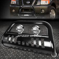 MATTE BLACK BULL BAR GRILLE GUARD+CHROME FOG LIGHT FOR 04-15 NISSAN TITAN/ARMADA