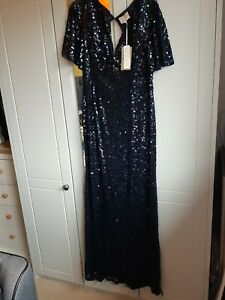 Jenny Packham Navy Sequin Evening Dress Size 14