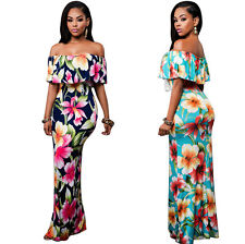 Women Frill Off Shoulder Maxi Dress Evening Beach Cocktail Party Floral Sundress