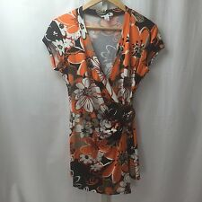 Cache Women's Wrap Top Blouse Floral Print SZ M