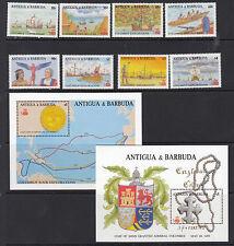 ANTIGUA:1988 Columbus Exploration series 1 set + MS SG1172-9+MS1180 MNH