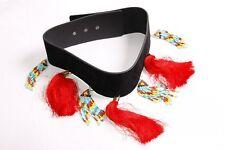 Blogger Style Black Belt w Colourful Tassels Scottish Look Ladies Belt (S342)