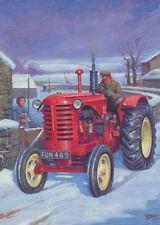 Massey Harris Tractor Farmer Farm Scene 1960s Christmas Xmas Card