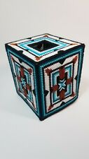 South West Handmade Plastic Canvas Tissue Box Cover Indian Native American.
