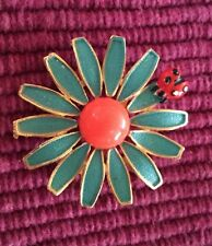 Vintage 1950s WEISS Enamel Daisy Flower Lady Bug Brooch