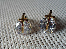 QVC Diamonique cz Sterling/14K Gold clad 7 cttw Cross Spinner Stud Earrings