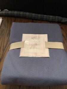 """Blue Twin Fleece Blanket 100% Polyester 66""""x90"""""""