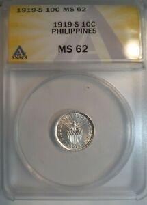 1919-S 10 Centavo ANACS MS62 United States Philippines