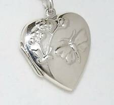 Butterfly and Flowers Heart Locket Pendant STERLING SILVER 925