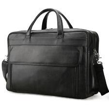 """Men Real Leather Briefcase 17"""" Laptop Business Shoulder Bag Travel Handbag TOTE"""