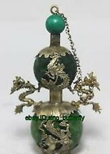 CHINESE TIBET-SILVER DRAGON GREEN JADE SNUFF BOTTLE
