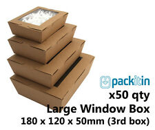 x50 LARGE KRAFT BROWN WINDOW LID BOXES for macarons cookies food gift packaging