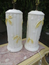 PAIR Faux Bamboo Table 2 Lamps Palm Beach Hollywood Regency Mid-century Yellow