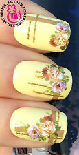 NAIL ART WRAP WATER TRANSFERS DECALS DECORATION SET FLOWER GOLD GLITTER LINES #6