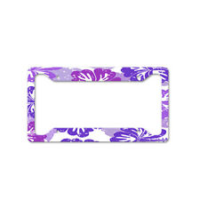 Purple Hibiscus Flowers Auto Car License Plate Frame Tag Holder 4 Hole