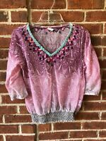 Akemi + Kin Anthropologie Women's Shirt Top Embroidered Blouse Sheer Sz S NWOT