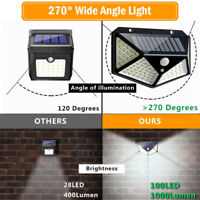 100LED Solar Power Lights PIR Motion Sensor Security Outdoor Garden Wall Lamp KY