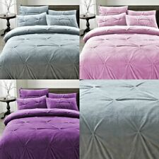 Teddy Bear Fleece Duvet Cover Set Pillow Case Sherpa Thermal Pintuck Bedding