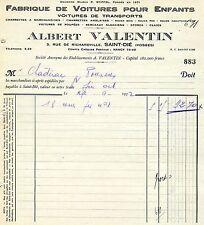 Ancienne facture Français 1932 Albert Valentin Saint-Dié Vosges voitures enfants
