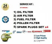 Luft Kraftstoff Cabin Öl Filter + 4x Zündkerzen für VW Caddy III Dose 2.0