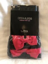 La Senza Dreamlegs Fashion Hold Ups Size Small 40 Denier Black Red Bow BNIB