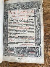 1537 Petrus Lombardus Sententiarum Lib IIII