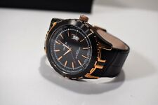 Croton Men's Watch Two-Tone Bezel Tachymeter Date Leather Rose Gold Tone Accent