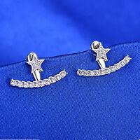 925 Sterling Silver Star Smile Curve Line CZ Drop Jacket Hug Two Way Earrings