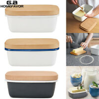 Enamel Butter Dish Box Wooden Lid Deep Storage Container Tray for Butter Cheese