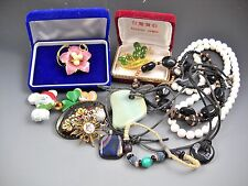 Jewelry Lot Twelve Pieces Beaded Necklaces Pendants Pins Vintage Pin Two Boxes