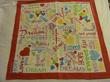 LOVE, DREAM & HOPE,100% COTTON BANDANA, WHITE,PINK,GREEN,YELLOW,LILAC HEADWRAP.