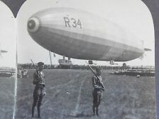 WW1 DIRIGIBLE R-34 AT MINEOLA, KEYSTONE VIEW CO. STEREOVIEW CARD WWI! B&W V19216