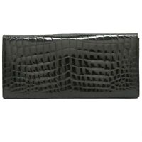 AR Alfred Roth Crocodile Leather Clutch Second Bag Pouch Case Black Germany