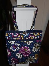 Vera Bradley African Violet Navy Tote with Toggle Flower Floral Tortoise Lovely!