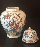 """Vintage Floral Japanese Porcelain Vase/Urn With Lid """"Andrea"""" By Sadek #8167"""