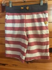 Johnnie B Mini Boden Red Stripe Shorts Boys Sweatshorts Drawstring Size 9-10Y