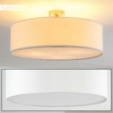 Plafonnier Lampe à suspension blanche Lustre Lampe de séjour ronde Métal/Tissu