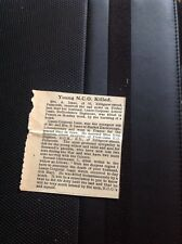 A1-8 Ephemera 1918 Ww1 Arthur Isaac Beds Regt Killed France Market Harborough